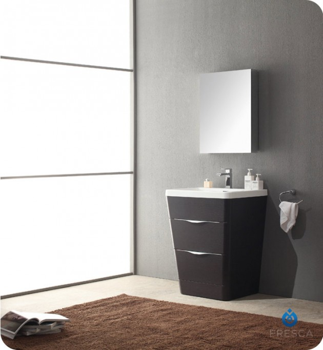 Fabulous Fresca Milano u Modern Bathroom Vanity in a Chestnut Finish with Medicine Cabinet and Faucet