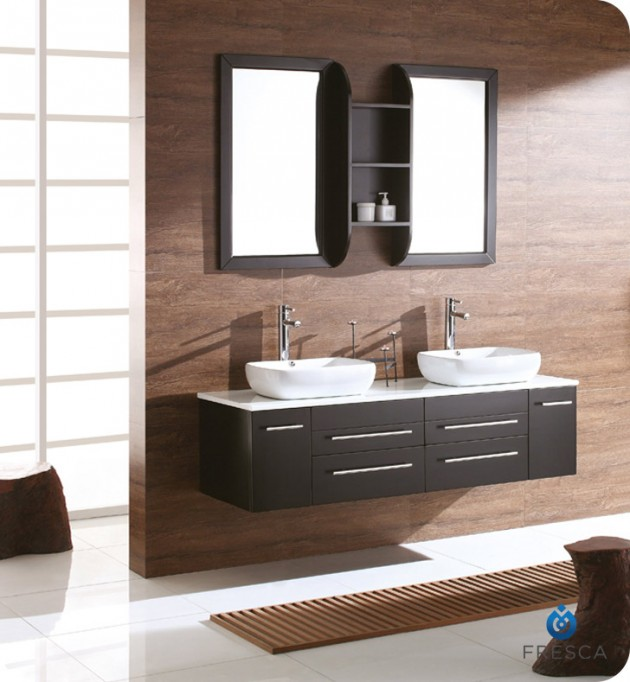 Marvelous Fresca Bellezza Espresso Modern Double Vessel Sink Bathroom Vanity