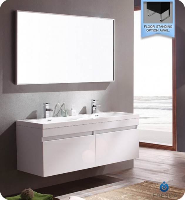 Epic Fresca Largo White Modern Bathroom Vanity with Wavy Double Sinks