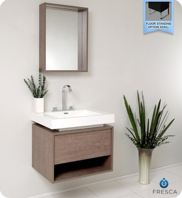 Cool Fresca Potenza Gray Oak Modern Bathroom Vanity with Pop Open Drawer