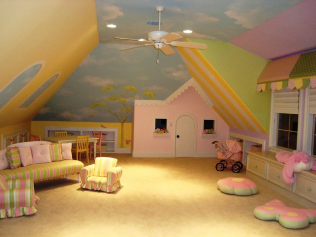 20 comfortable attic playroom design ideas - Playroom Design Ideas