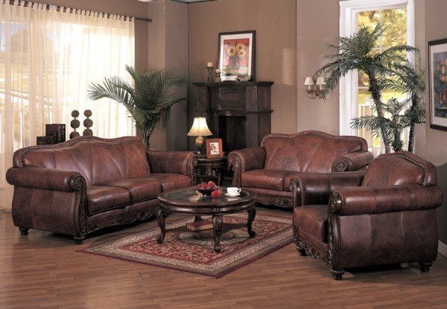 Classy Leather Sofa Set Designs