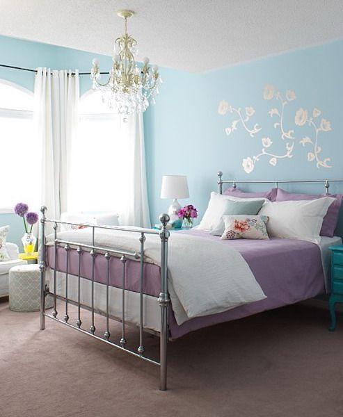 Light Purple Room: 21 Pastel Blue Bedroom Design Ideas