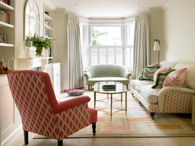 17 Simple But Adorable Bay Window Curtains Designs
