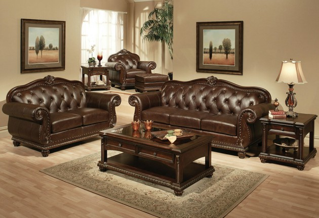 15 Classy Leather Sofa Set Designs