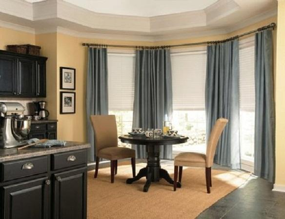 Simple Dining Room Color Ideas: 17 Simple But Adorable Bay Window Curtains Designs