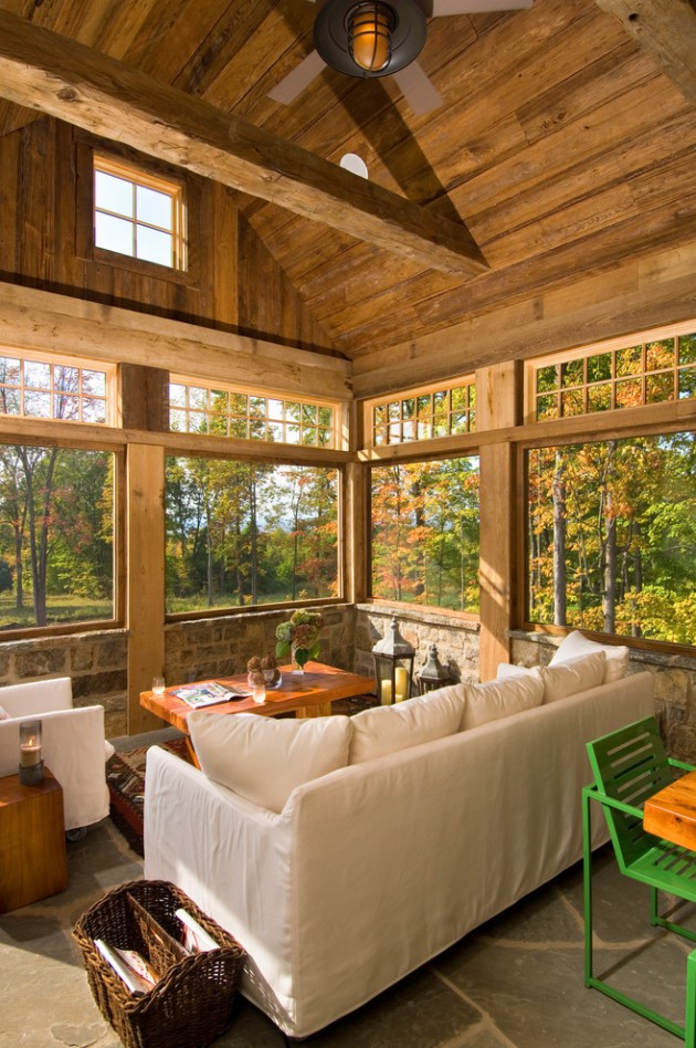 16 serene rustic conservatory designs for the garden for Sunroom decor