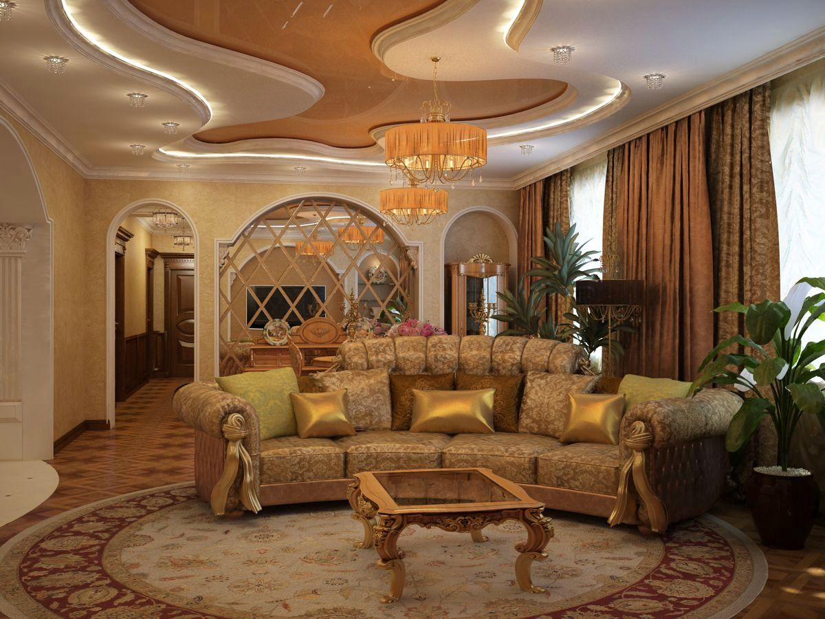 Дизайн гостиной в золоте
