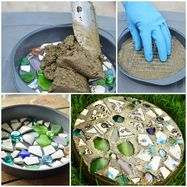 Diy Mosaic Stepping Stones
