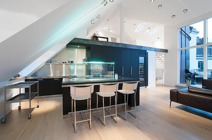 16 functional attic kitchen design ideas. Black Bedroom Furniture Sets. Home Design Ideas