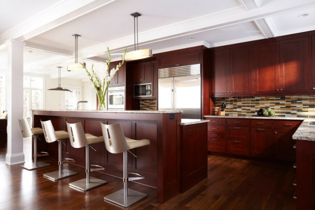 Dark Wood Floors In Kitchen With Oak Cabinets