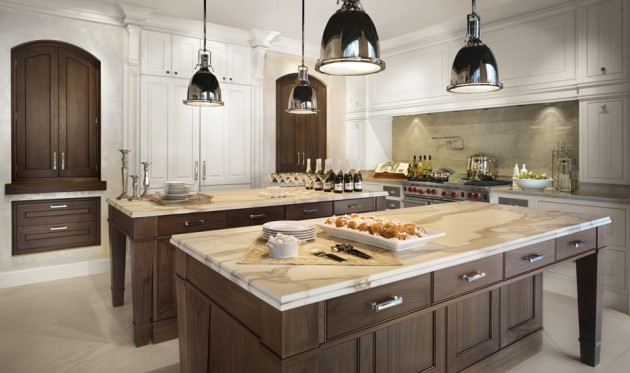 18 stunning kitchen designs with double kitchen island for Dual island kitchen designs