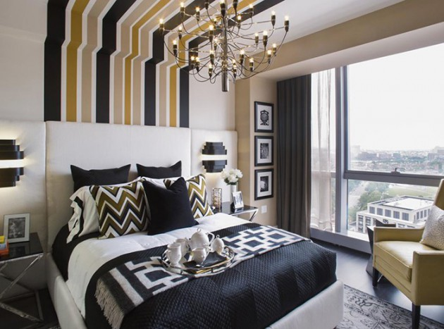 18 Fancy Bedrooms With Striped Accent Walls