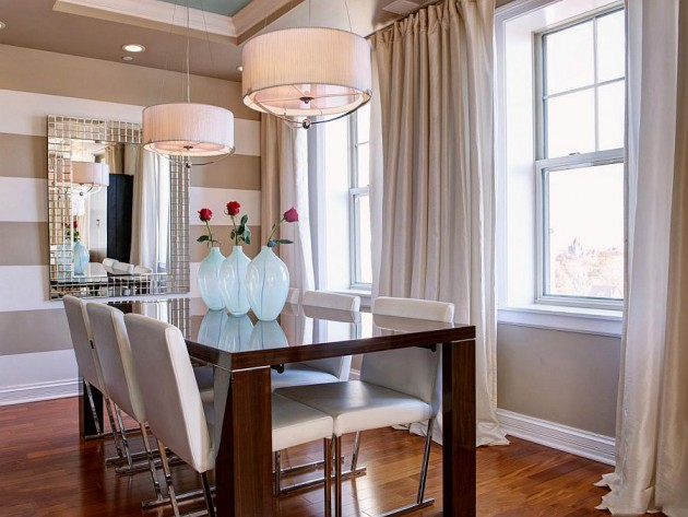 15 Dazzling Dining Room Designs With Striped Walls