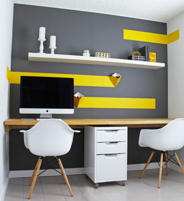 Home Office Designs With Yellow Flair