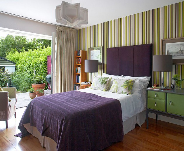 Fancy Bedrooms With Striped Accent Walls - Striped accent walls bedrooms
