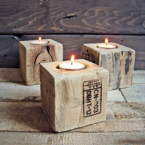 21 diy wooden candle holders to add rustic charm this fall. Black Bedroom Furniture Sets. Home Design Ideas