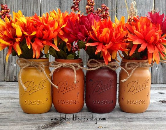 Top 18 the cheapest diy fall decorations with mason jars for Thanksgiving decorations ideas for office