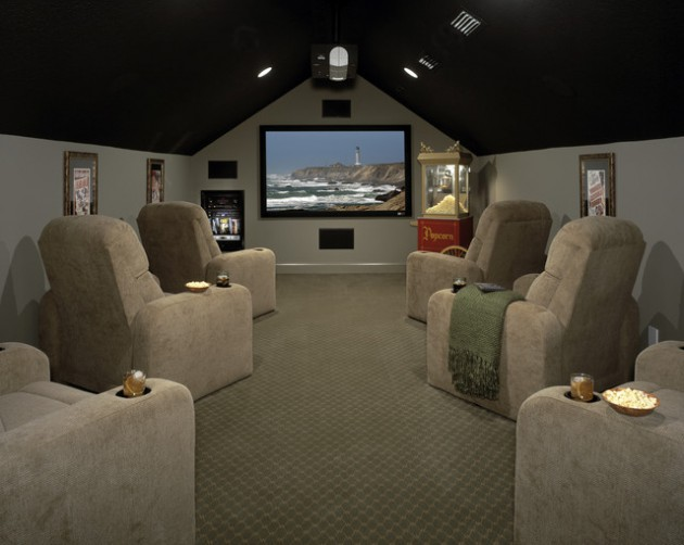 Wonderland Room For The Whole Family  18 Marvelous Attic Home Cinema Designs