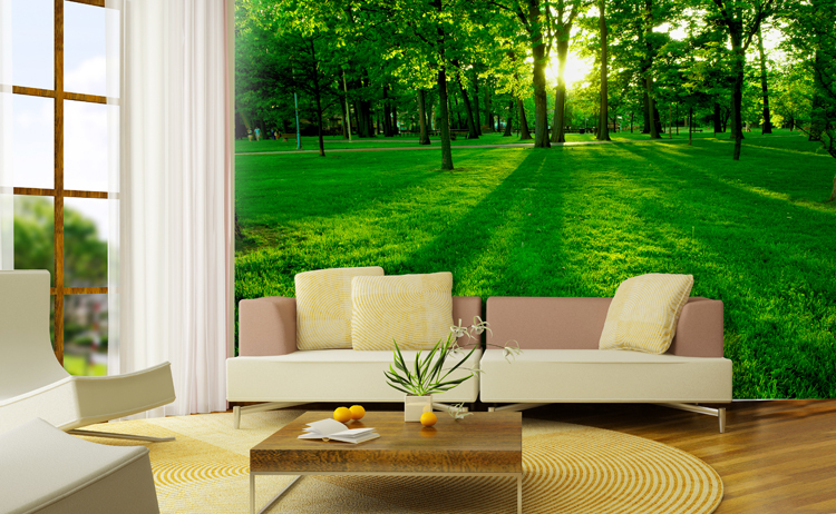 19 divine nature themed wallpapers for your dream living room for Colocar papel mural