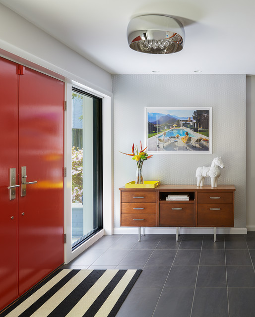 living room entrancing modern | 17 Welcoming Mid-Century Modern Entrance Designs That Will ...
