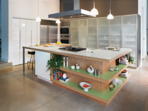 18 Practical Kitchen Island Designs With Open Shelving