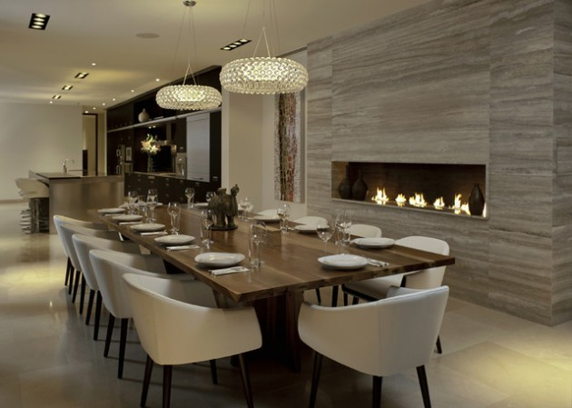 14 sophisticated dining rooms with beautiful fireplace - Dining room decorating ideas modern ...