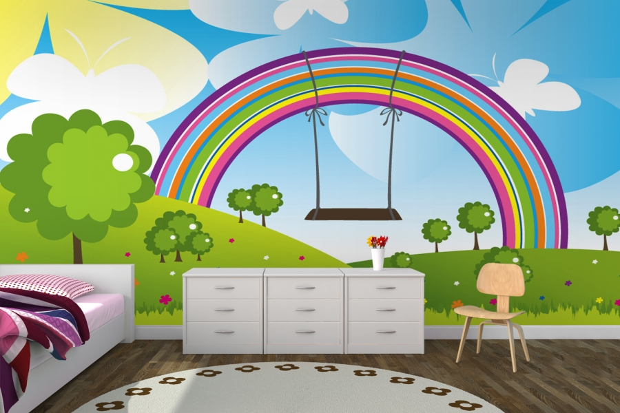 10 lovely wallpaper designs to adorn the child 39 s room for Child mural wallpaper
