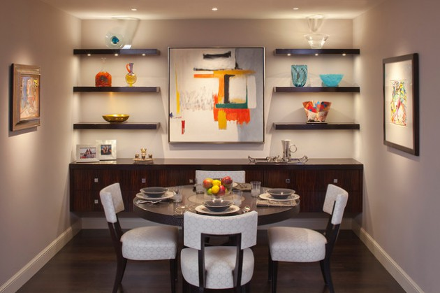 18 imposant dining room designs with shelves on the walls for Dining room shelves
