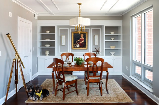 18 Imposant Dining Room Designs With Shelves On The Walls