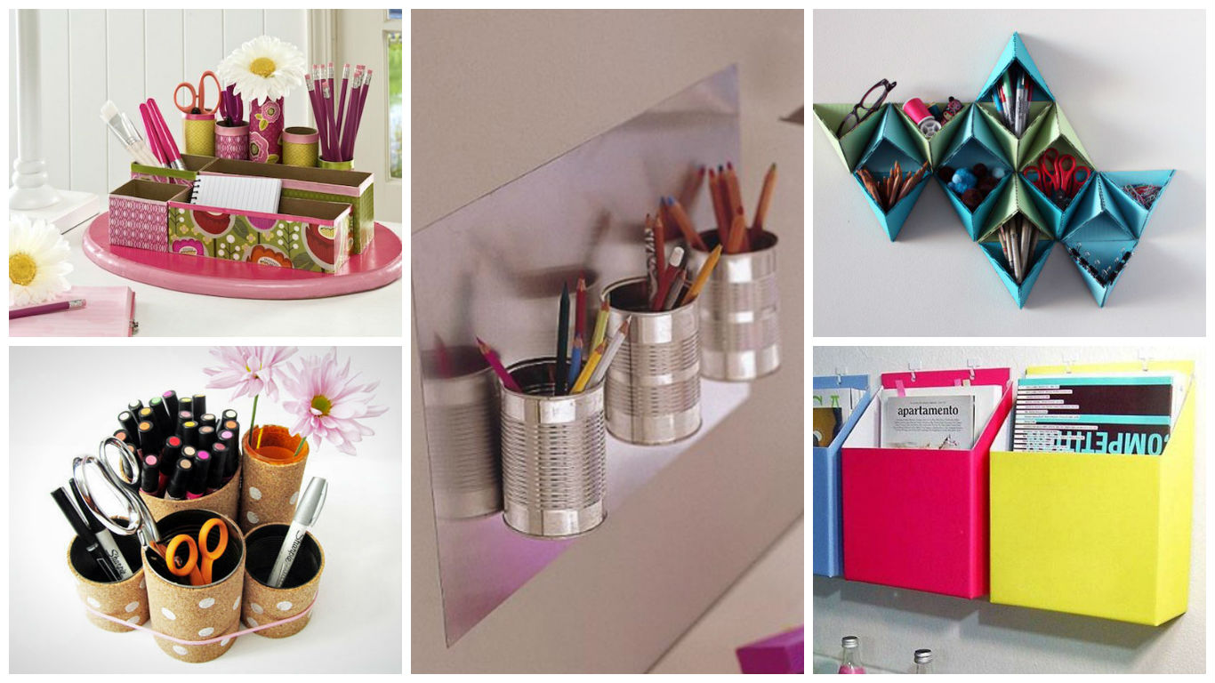 16 fascinating diy ideas to organize your office supplies for Diy office supplies