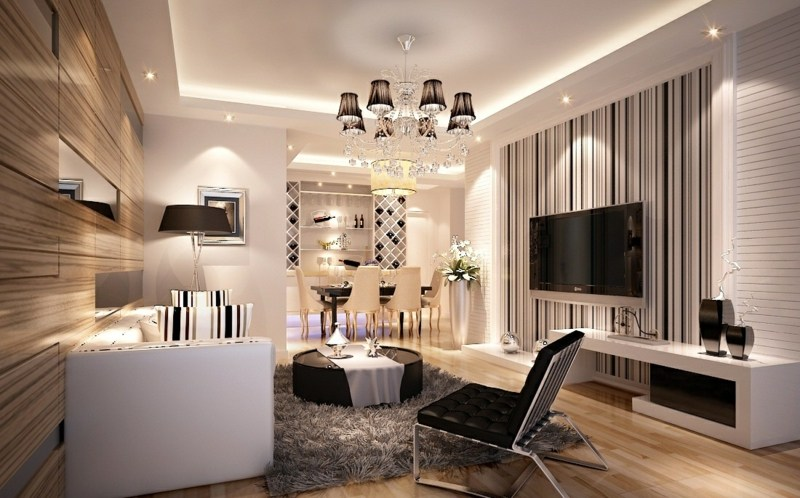 16 lovely living rooms with striped walls, wohnzimmer