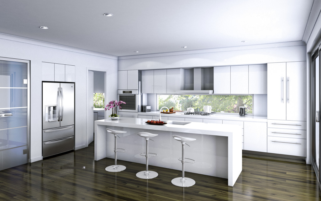 15 classy kitchen designs with white kitchen chairs for Competitive kitchen designs