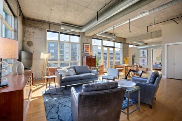 16 Spectacular Industrial Living Room Interior Designs