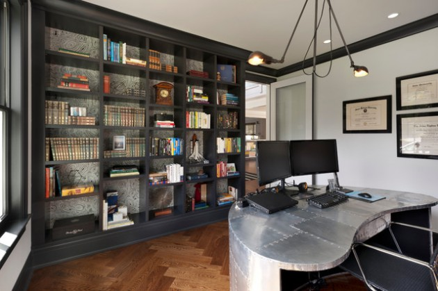 18 exceptional industrial home office designs that will boost your productivity at home Industrial home office design ideas