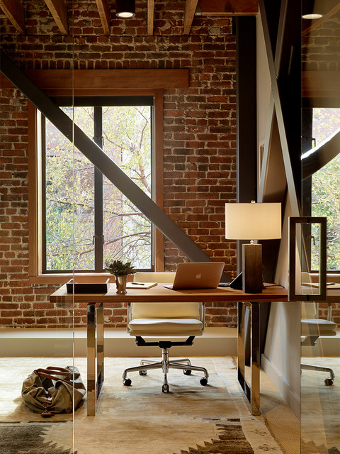 Flat Kitchen Designs: 18 Exceptional Industrial Home Office Designs That Will