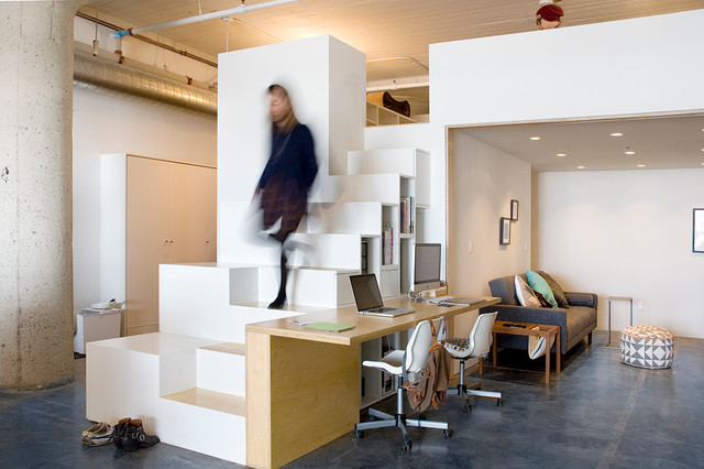 18 exceptional industrial home office designs that will for Loft office design
