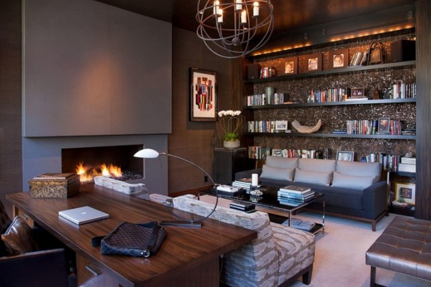 18 Irreplaceable Home Office Ideas With Beautiful Fireplace