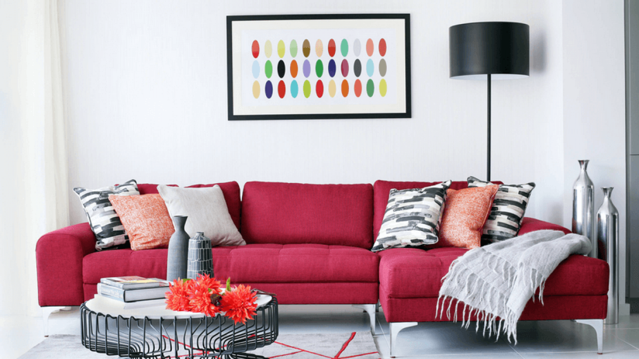 12 Stylish Living Room Designs With Red Couches