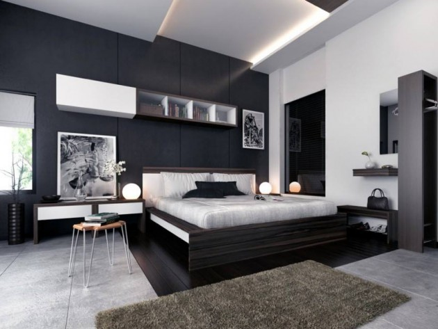 Dark bedroom interior design