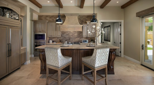 19 Charming Kitchen Designs With Brick Backsplash For Better Visual Effect
