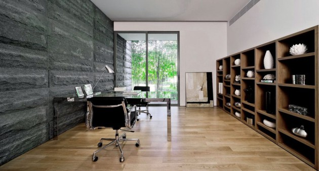 14 Charming Home Office Designs With A Stone Wall
