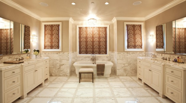 16 Stunning Bathrooms With Marble Floor That Will Admire You