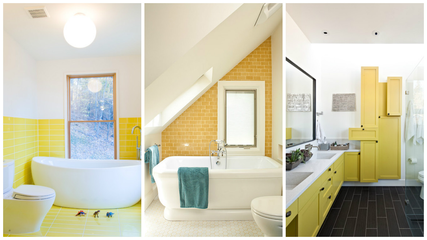 18 magnificent bathroom designs refreshed with yellow details - Yellow interior house design photos ...