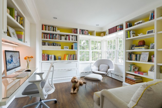 17 Charming Home Office Designs With Library