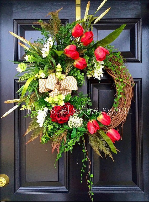 spring front door wreathsJoyful Handmade Spring Wreath Ideas To Decorate Your Front Door