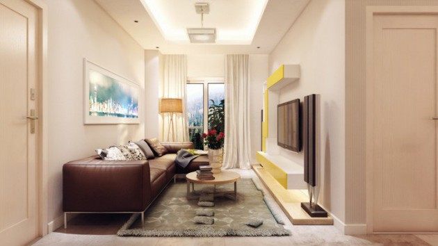 20 stylish functional solutions for decorating narrow for Functional living room