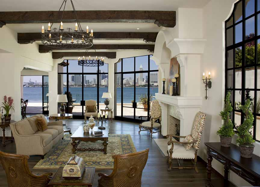 23 brilliant living room designs with exposed beams for Exposed beam house plans