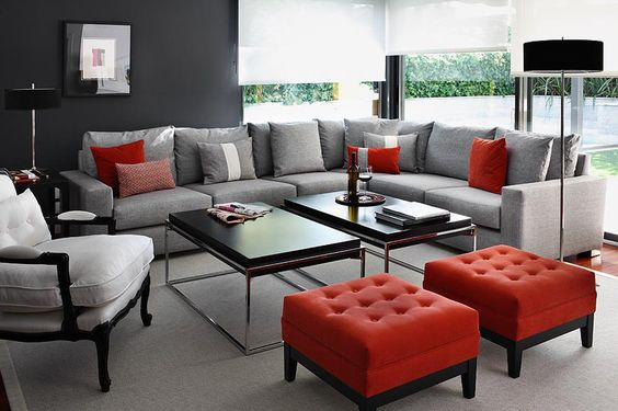 16 Gorgeous Grey Living Rooms With Red