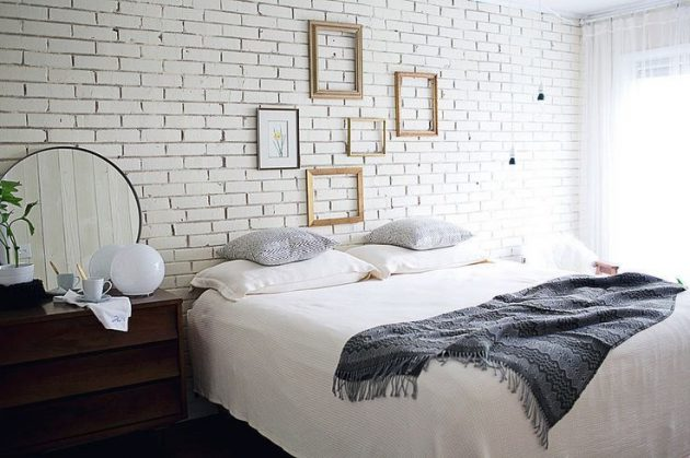 Enter Rustic In Your Bedroom Wall Of White Bricks For Warm Ambience